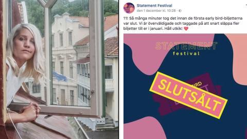 Komikern Emma Knyckare står bakom Statement som äger rum i Göteborg nästa år. Foto: Anders Ahlgren/SvD/TT och faksimil från Facebook.