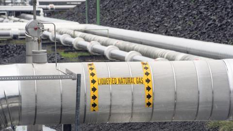Flera miljöorganisationer är starkt kritiska till planerna på terminalen för flytande fossilgas (liquefied natural gas), som ska byggas i Göteborg. Här syns en terminal för LNG i Maryland, USA. Bild: Cliff Owen/AP