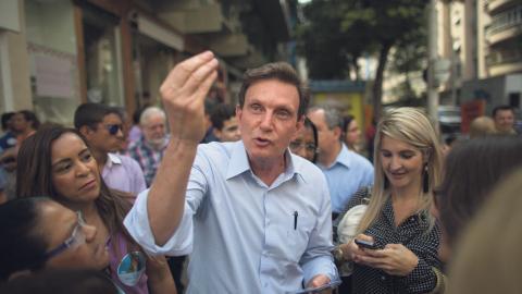 Utställningen QueerMuseu stoppades i Rio de Janeiro, dit den enligt planerna skulle flyttas. Beslutet togs av stadens borgmästare Marcelo Crivella, som även är biskop i en evangelisk kristen kyrka.  Bild: Leo Correa/AP/TT