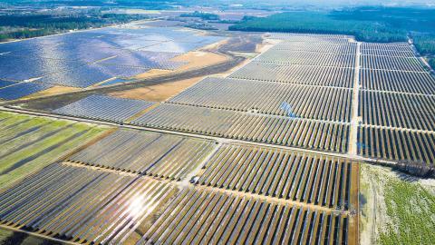 På bilden Green Power EMC och Silicon Ranchs Solar energy plant iJeff Davis County i Georgia i USA.  Bild: Silicon Ranch
