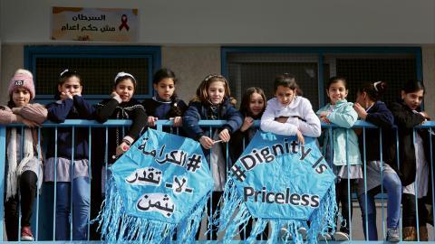 UNRWA tillhandahåller utbildning för över en halv miljon flyktingbarn. Bild från Rimals förberedande skola i Gaza. Bild: Adel Hana/AP/TT