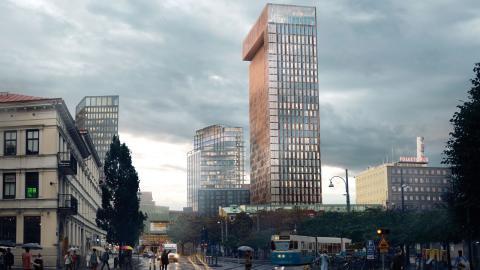 Folkets hus ska bygga ett hotell med 440 rum, och så här kommer det se ut från korsningen Linnégatan/Andra långgatan. Tidigare var det osäkert om hotellet skulle bli av eftersom Folkets hus hade svårt att få ihop finansieringen, men nu ska det ha löst sig Bild: Erseus Arkitekter