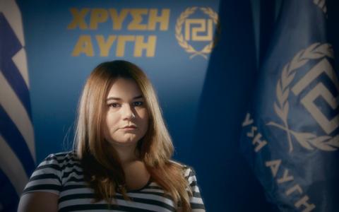"""25-åriga Ourania Michaloiakos är vid sidan av universitetsstudierna i psykologi en av Gyllene grynings """"soldater"""" Bild: UpNorth Film"""