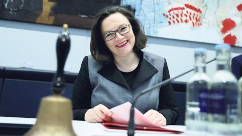 I den senaste regeringen var Andrea Nahles arbetsmarknads- och socialminister och efter valet i höstas utsågs hon till gruppledare för SPD i riksdagen, som första kvinna på posten.  Bild: Kay Nietfeld/TT