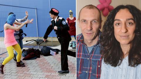 Protesten i Sotji 2014. Kosacker misshandlade medlemmar ur Pussy Riot med piska.  Bild: Rolf Larsson