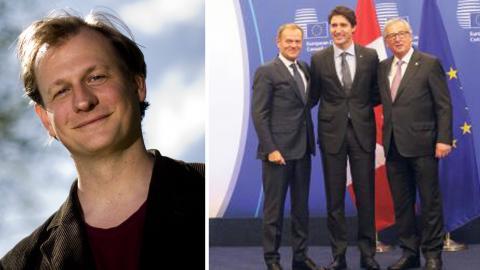 Carl Schlyter (MP) / Jean-Claude Juncker, Justin Trudeau och Donald Tusk under Ceta-förhandlingar i Bryssel.  Bild: Adam Ihse/TT / Olivier Matthys/AP/TT
