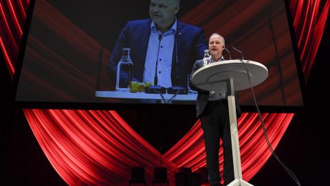 Vänsterpartiets partiledare Jonas Sjöstedt på partiets senaste kongress. Bild: Henrik Montgomery/TT