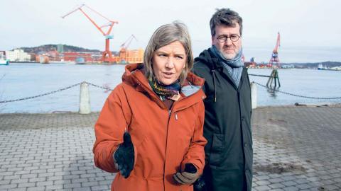 Miljöminister Karolina Skog (MP) kom till Göteborg i veckan för att, tillsammans med kommunalråd Ulf Kamne (MP), presentera nya regler som lägger ansvaret för klimatanpassning på kommunerna. Foto: Lucas De Vivo