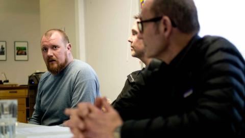 Hamnarbetarförbundet samlade till presskonferens i sin lokal i Göteborg. Foto: Lucas De Vivo