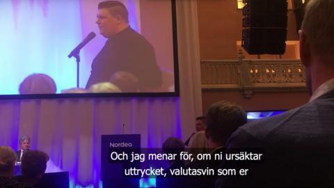 Karl Gustav höll tal på Nordeas bolagsstämma. Bild: Youtube