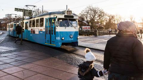 Spårvagn på Vasabron I Göteborg. Foto: Eddie Löthman / Västtrafik/Pressbild