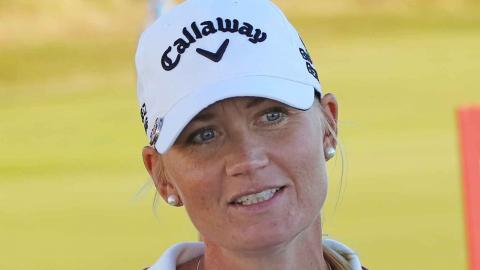 Antalet kvinnor i boken är få – golfproffset Linda Wessberg är en av två kvinnor som är med. Foto: Göran Söderqvist/SGF/TT