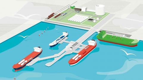 Terminalen som planeras ska fungera som tankstation för fartyg. Men företaget Swedgas vill också koppla upp sig på det svenska stamnätet för naturgas. Bild: Swedgas
