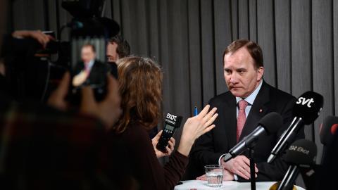 Socialdemokraternas partiledare Stefan Löfven presenterar nya förslag kring arbetskraftsinvandringen under en pressträff på partilkanslet i Stockholm. Foto: Henrik Montgomery / TT