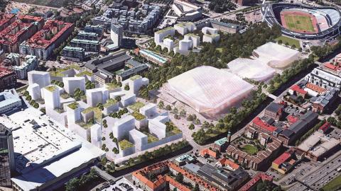 Det föreslagna arenakomplexet föreslås bli 100 meter brett och mellan 200 och 300 meter långt. Bild: Göteborgs stad