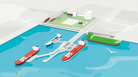 Förslag på LNG-terminalens utformning. Bild: Swedegas