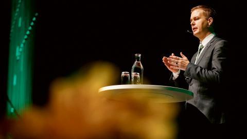 Bilden: MP:s språkrör Gustav Fridolin partiets kommun- och landstingsdagar 2014.  Bild: Linn Malmén/TT