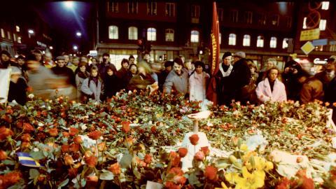 Sveavägen i Stockholm dagen efter mordet på Olof Palme.  Bild: Leif R Jansson/TT