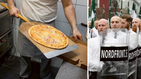 Efter att pizzeria Titanic i Ludvika portat personer med kopplingar till NMR har restaurangen utsatts för trakasserier. Bild: Ulf Palm/TT och Titanic Restaurang & Pizzeria