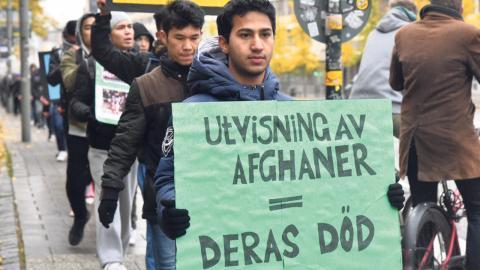 Bilden från en demonstration i Stockholm i oktober 2016. Bild: Lars Schröder/TT