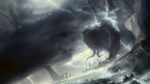 """En nyöversättning av HP Lovecrafts novell """"Cthulhu vaknar"""" släpps i dagarna av förlaget Fria Ligan. François Baranger står för illustrationerna.  Bild: François Baranger/Fria Ligan"""
