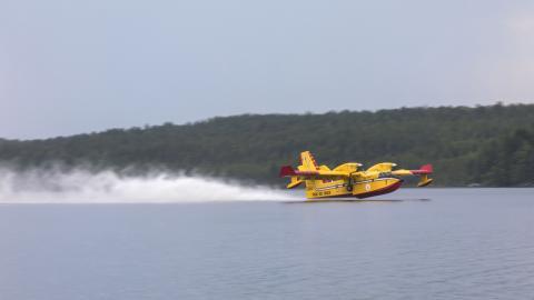Italienska vattenbombplanen kör med frekvent intervall och hämtar vatten från Orrmåsjön. BIld: Adam Johansson