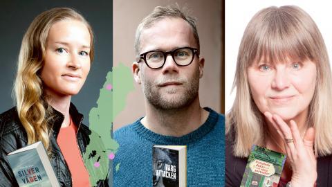 Stina Jackson, Lars Berge och Ewa Klingberg är tre aktuella författare med geografisk bredd.  Bild: Andrew Kowalyshyn/Johanna Hanno/Hans Johnsson