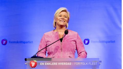 Siv Jensen leder det högerpopulistiska Fremskrittspartiet, som tillsammans med Høyre styr landet. Bild: Håkon Mosvold Larsen