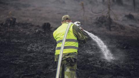 Personal från hemvärnet hjälper till att släcka skogbranden vid älvdalens skjutfält. Bild: Adam Wrafter/TT