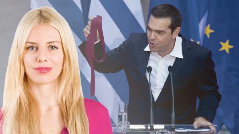 """Greklands premiärminister Alexis Tsipras i juni med den röda slipsen, för att """"fira"""" slutet på det tredje sparprogrammet för landet. Bild: Dagens ETC / Petros Giannakouris/AP/TT"""