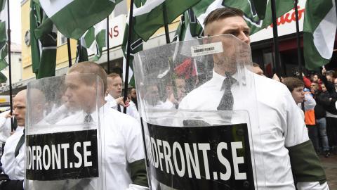 Den 1 maj fick NMR lov att demonstrera i Ludvika. Bild: Ulf Palm/TT