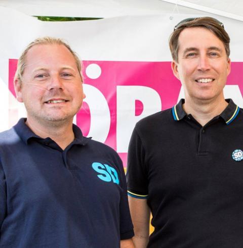 Pierre Eriksson (tv) med Richard Jomshof. Bild: SD Press