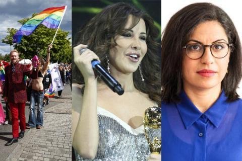 Den libanesiska sångerskan Nancy Ajram (t.v.) och Somar al Naher, ledarskribent i Dagens ETC. Bild: TT