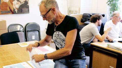Ulf Nilsson tycker att deras viktigaste lokala frågor är att stödja hamnarbetarna och att kommunen ska bojkotta Israel. Bild: Sanna Arbman Hansing