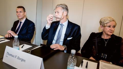 Onsdagens presskonferens där Thomas Borgens avgång som vd för Danske Bank förkunnades. Bild: Mads Claus Rasmussen/AP/TT