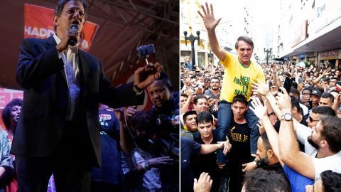 """Lulas """"kronsprins"""" Fernando Haddad (till vänster) ställs mot Jair Bolsonaro i Brasiliens president TT"""