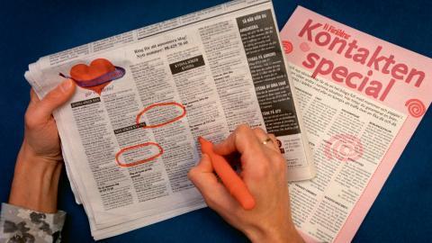 Kontaktannonser i tidningar på 90-talet.  Bild: Claudio Bresciani/TT