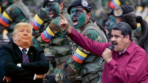 Amerikanska medier har avslöjat att Donald Trump haft kontakt med upproriska militärer från Venezuelas armé som vill ha hjälp med att avsätta landets president Nicolas Maduro.  Bild: Ariana Cubillos/AP och Evan Vucci/AP