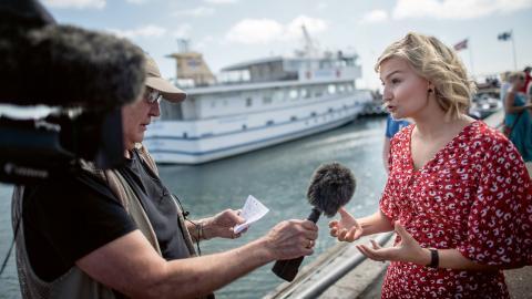 Kristdemokraternas partiledare Ebba Busch Thor (KD) fotograferad i samband med sitt sommartal på Hönö i Göteborgs skärgård.  Bild: Björn Larsson Rosvall/TT