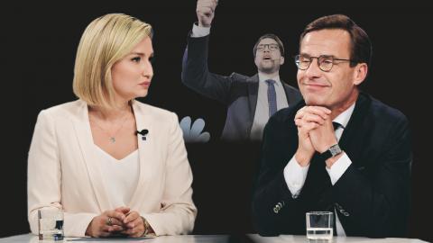 KD:s partiledare Ebba Busch Thor och M:s Ulf Kristersson.  I bakgrunden SD:s partiledare Jimmie Åkesson.  Bilder: TT