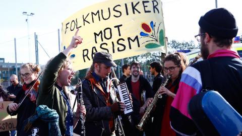 Peppig antifascism – här på Heden för ett år sedan. Foto: TT