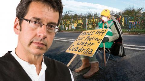 Demonstration mot fracking vid Preston New Road i Lancashire, Storbritannien.  Bild: Peter Byrne/PA/AP