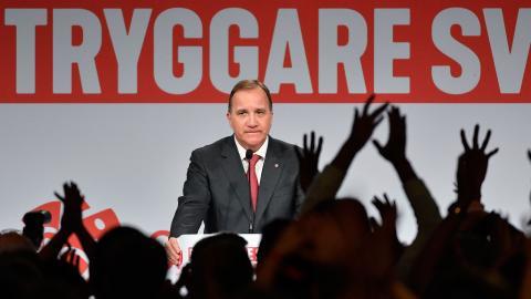 Stefan Löfven, Socialdemokraternas partiledare, under partiets valvaka. Foto: Jonas Ekströmer/TT