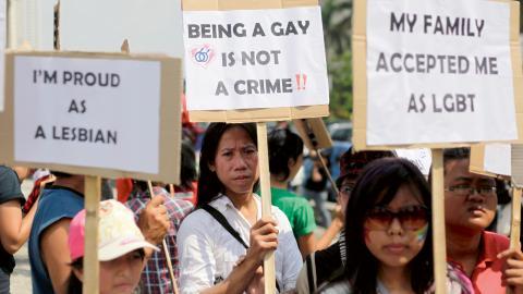 Demonstration för hbtq-personers rättigheter i Jakarta, Indonesien (arkivbild).  Bild: Dita Alangkara/AP/TT