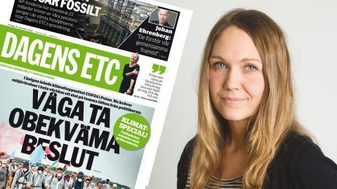 Förstasidan av Dagens ETC den 30 november 2018 / Maria Holm, miljöredaktör.