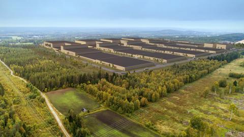Illustration över hur Northvolts batterifabrik i Skellefteå ska se ut Bild: Northvolt