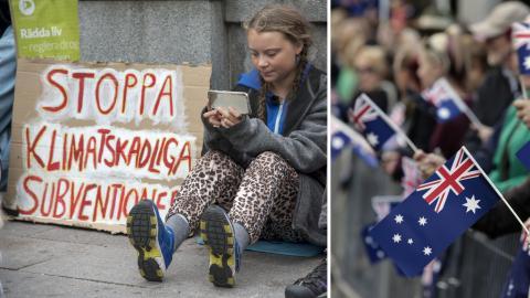 Greta Thunberg, 15, i sin skolstrejk utanför riksdagshuset i september i år. Bild: Marko Säävälä/TT / Rick Rycroft/AP/TT