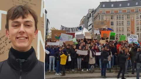 """""""Folk är glada och ropar slagord. Det är dock väldigt kallt"""", säger TheodorSelimovic, 18, som deltar i strejken."""