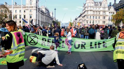 Den sista oktober hade den nystartade miljörörelsen Extinction Rebellion uppstartsmöte i London.   Bild: Kay Michael
