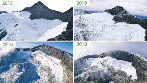 Länsstyrelsens bilder visar på stora förändringar i Sylglaciären och Helagsglaciären över kort tid Bilder: Tomas Bergström/Länstyrelsen Jämtlands län